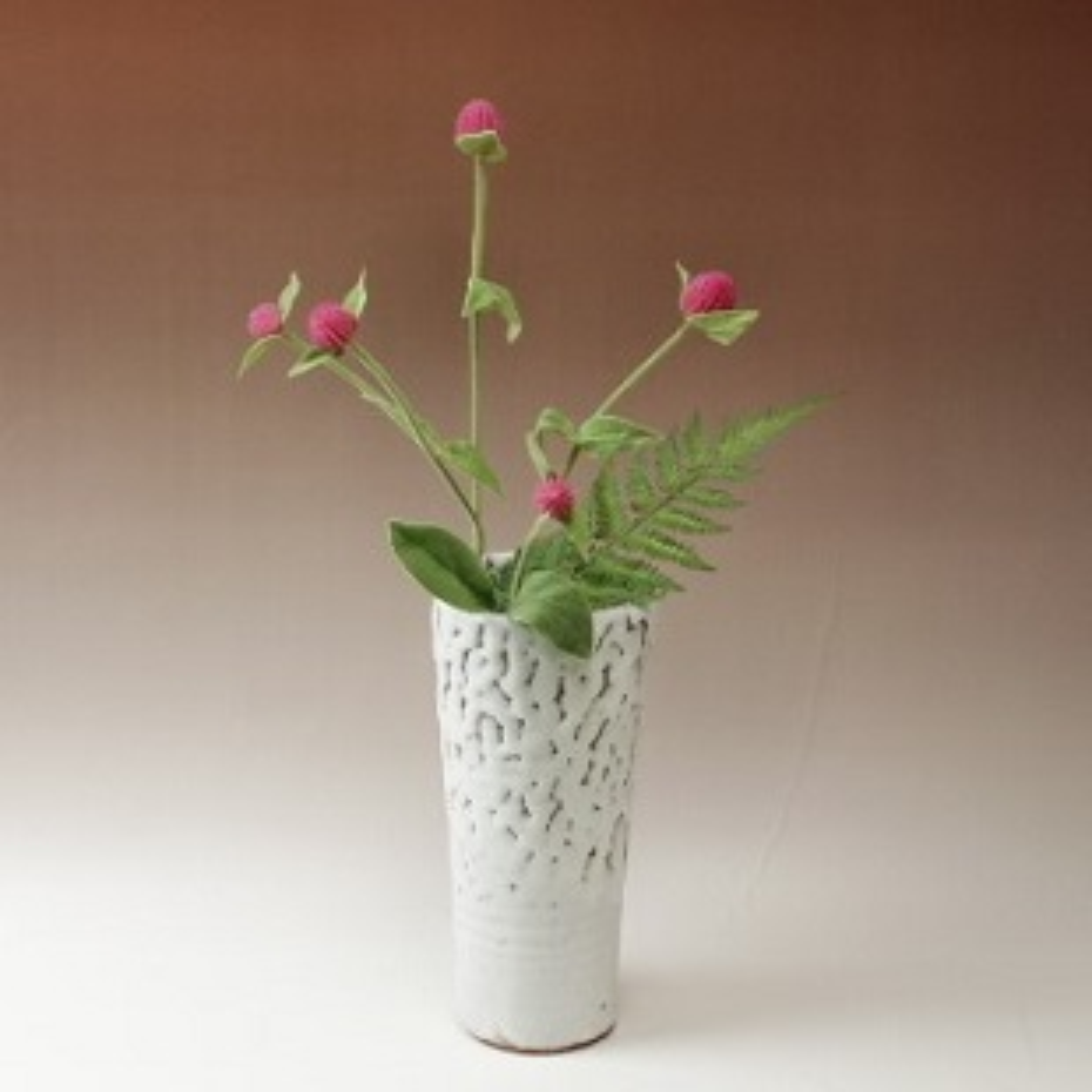 萩焼(伝統的工芸品)花入鬼白松円錐形桂