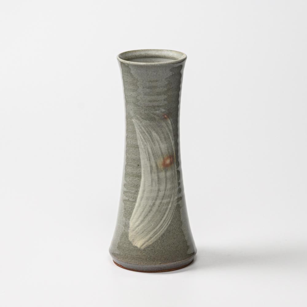 萩焼(伝統的工芸品)花入細手刷毛青端反