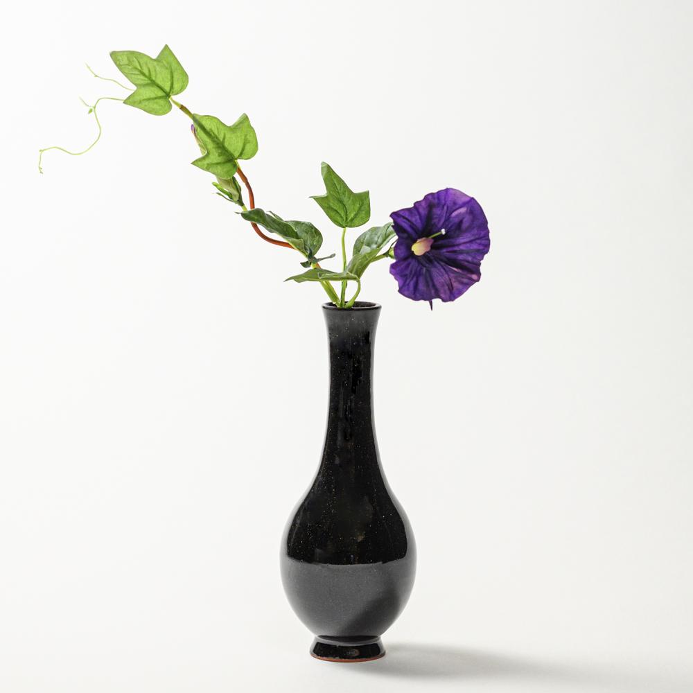 萩焼(伝統的工芸品)花入細手銀黒星釉曽呂利