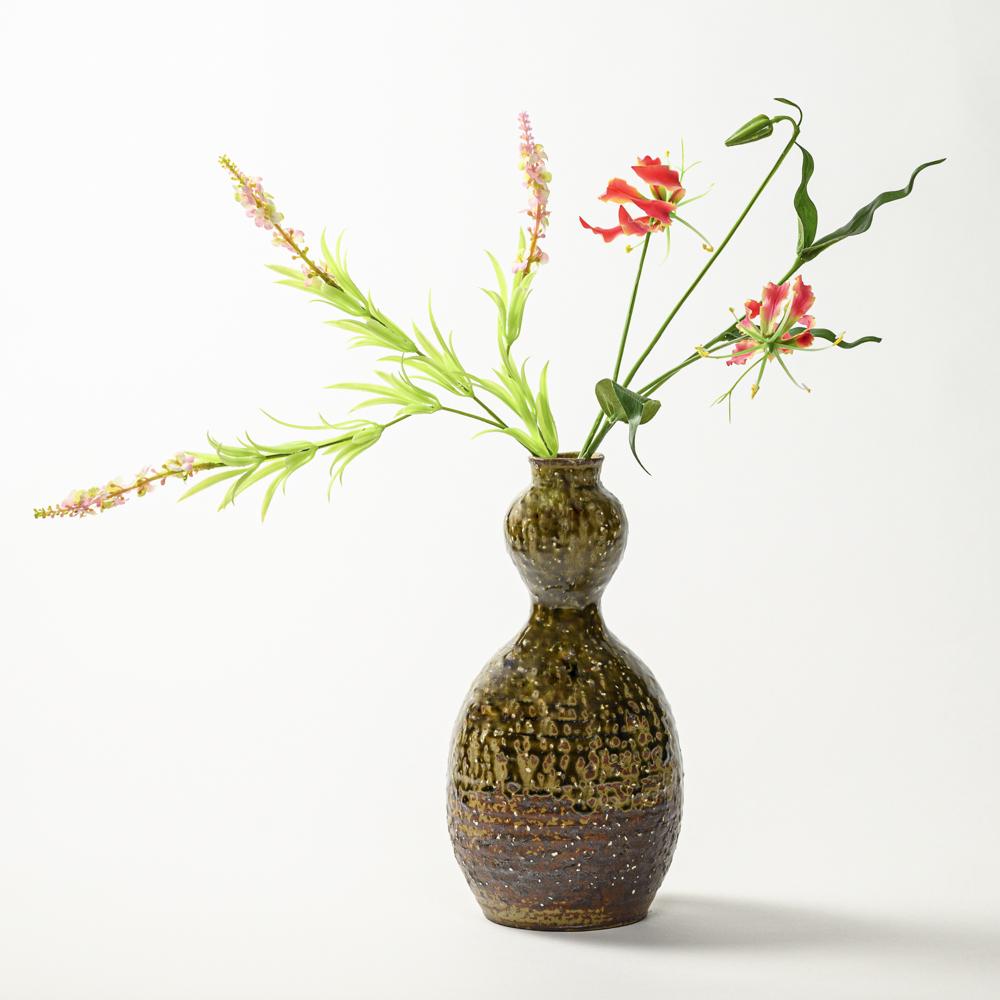萩焼(伝統的工芸品)花入大緑釉荒瓢箪