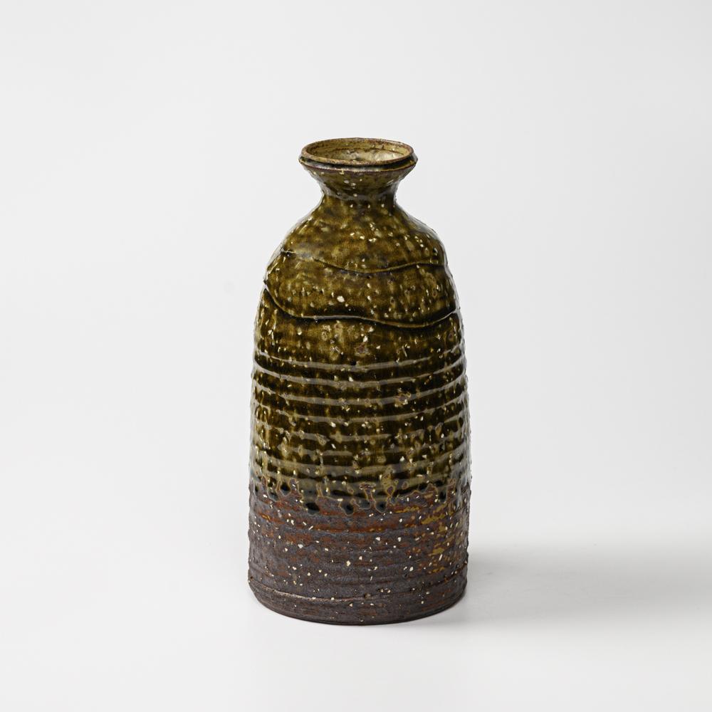 萩焼(伝統的工芸品)花入大緑釉荒徳利形