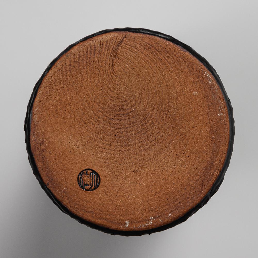 萩焼(伝統的工芸品)花入大掛分け(鬼白松&黒釉)砧