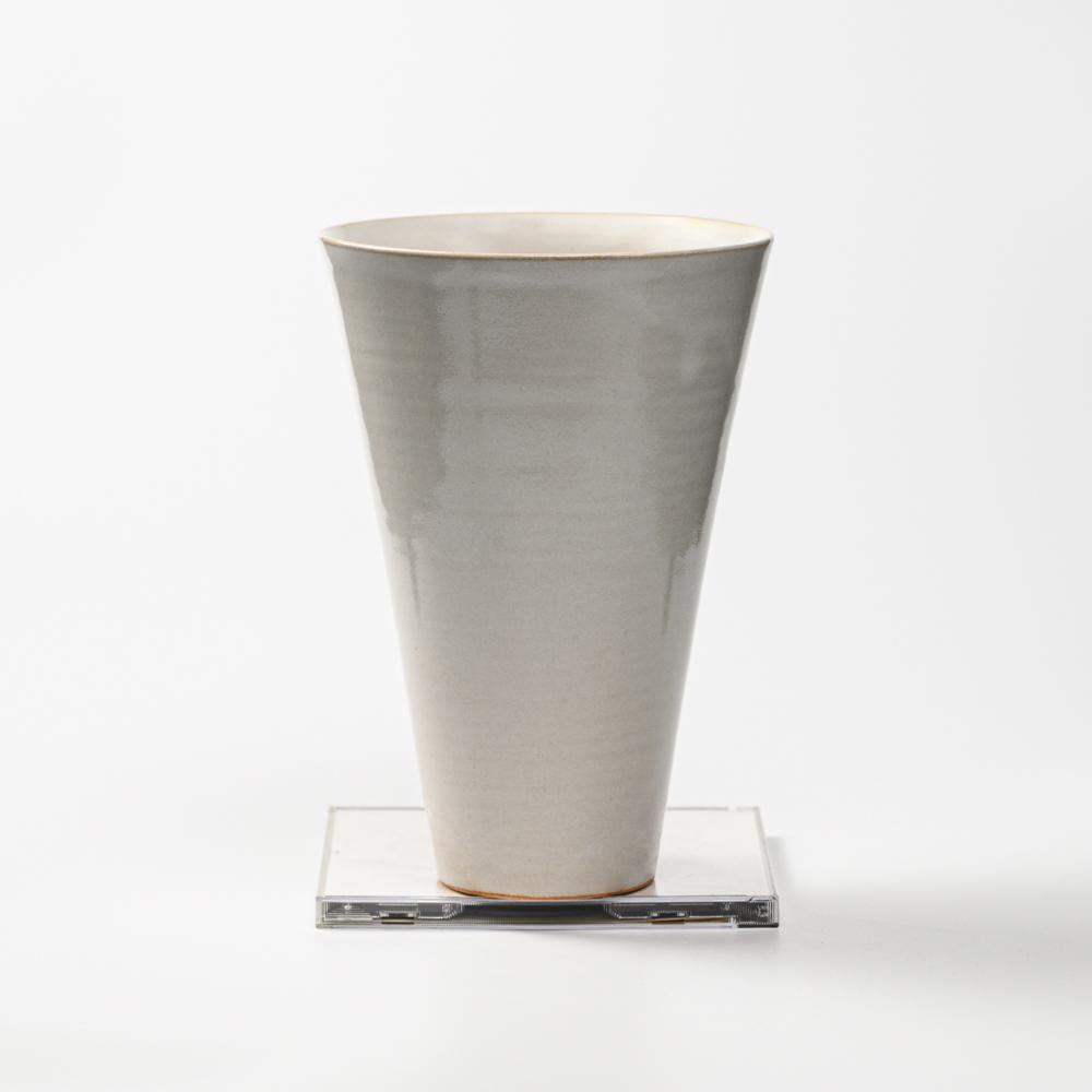 萩焼(伝統的工芸品)花入広口白姫末広呉器