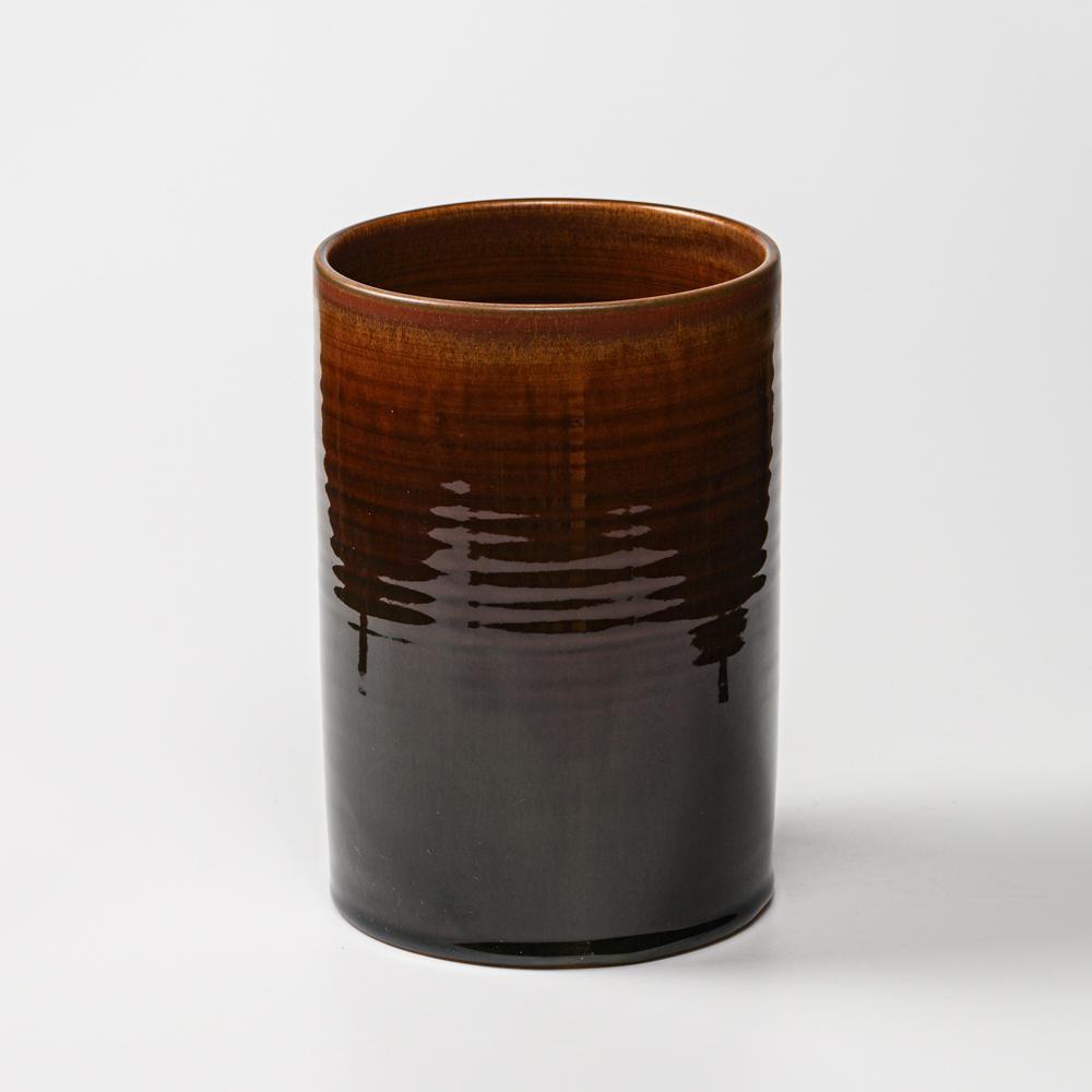 萩焼(伝統的工芸品)花入広口鉄赤釉筒