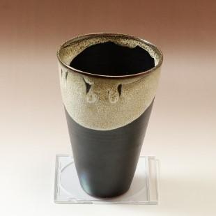 萩焼(伝統的工芸品)花入広口掛分け(黒釉&わら)呉器