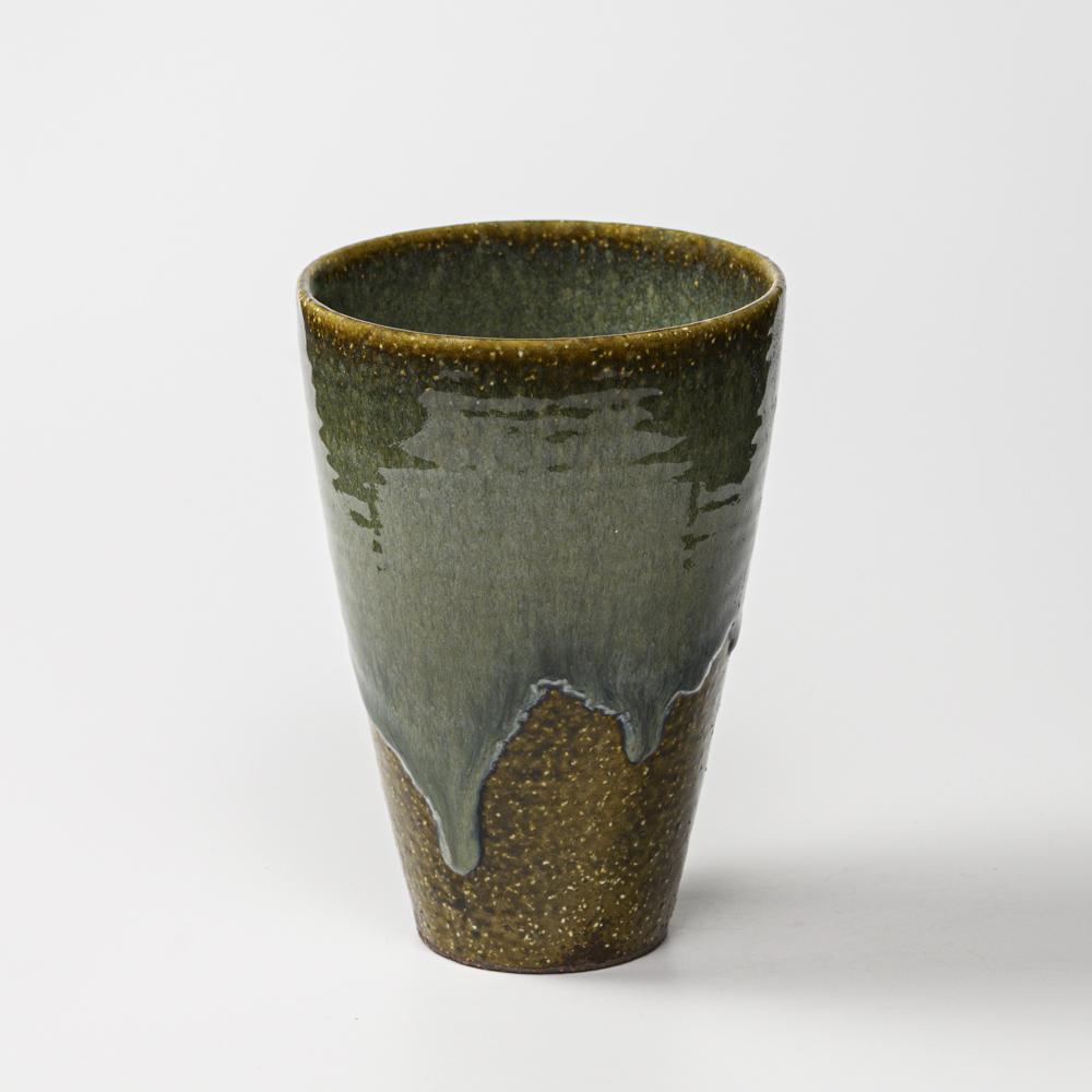 萩焼(伝統的工芸品)花入広口鉄青釉呉器