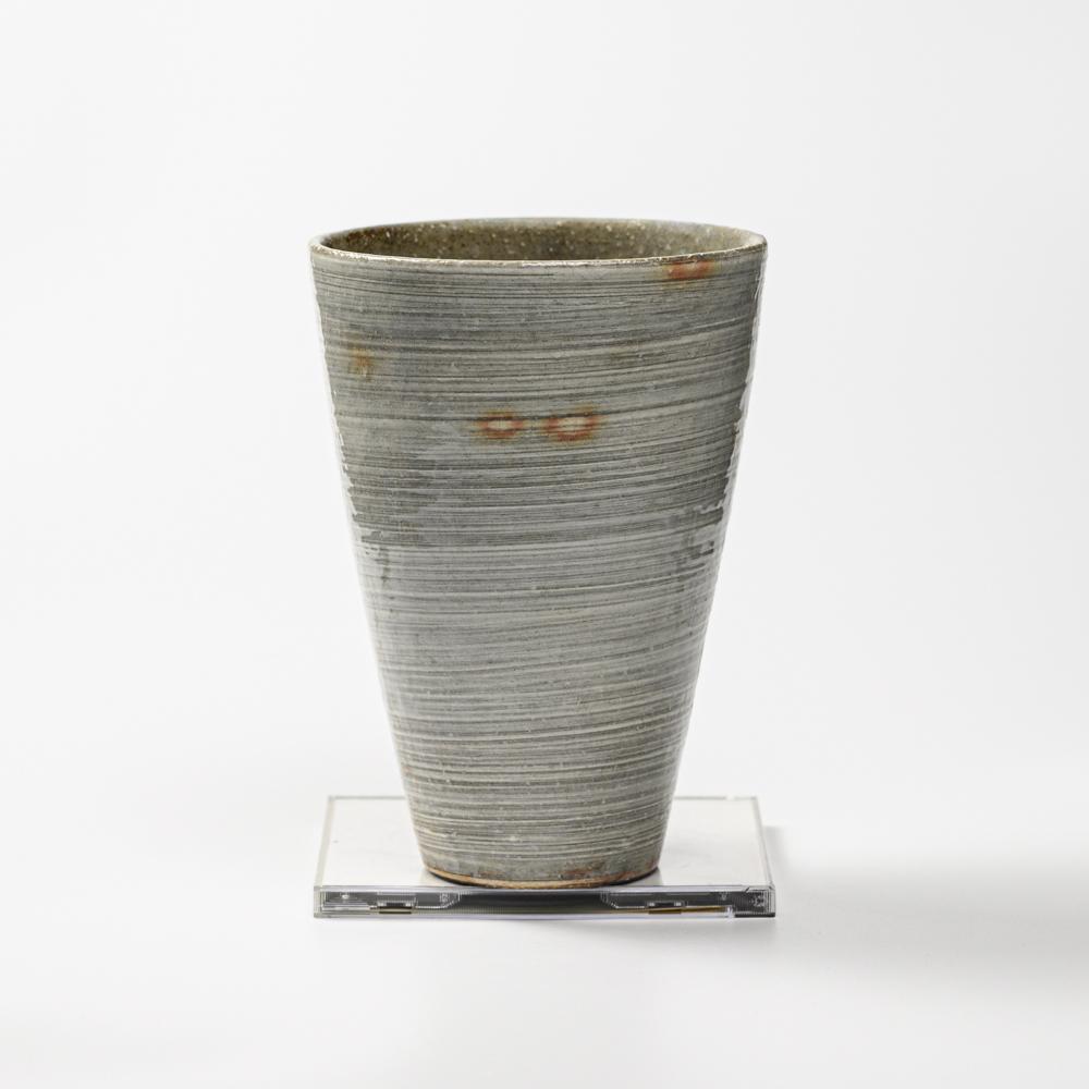 萩焼(伝統的工芸品)花入広口刷毛青荒呉器