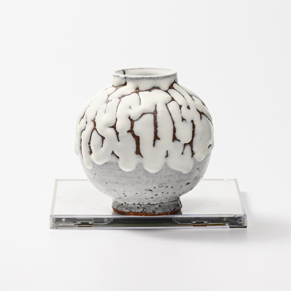 萩焼(伝統的工芸品)ミニ花入鬼白松丸