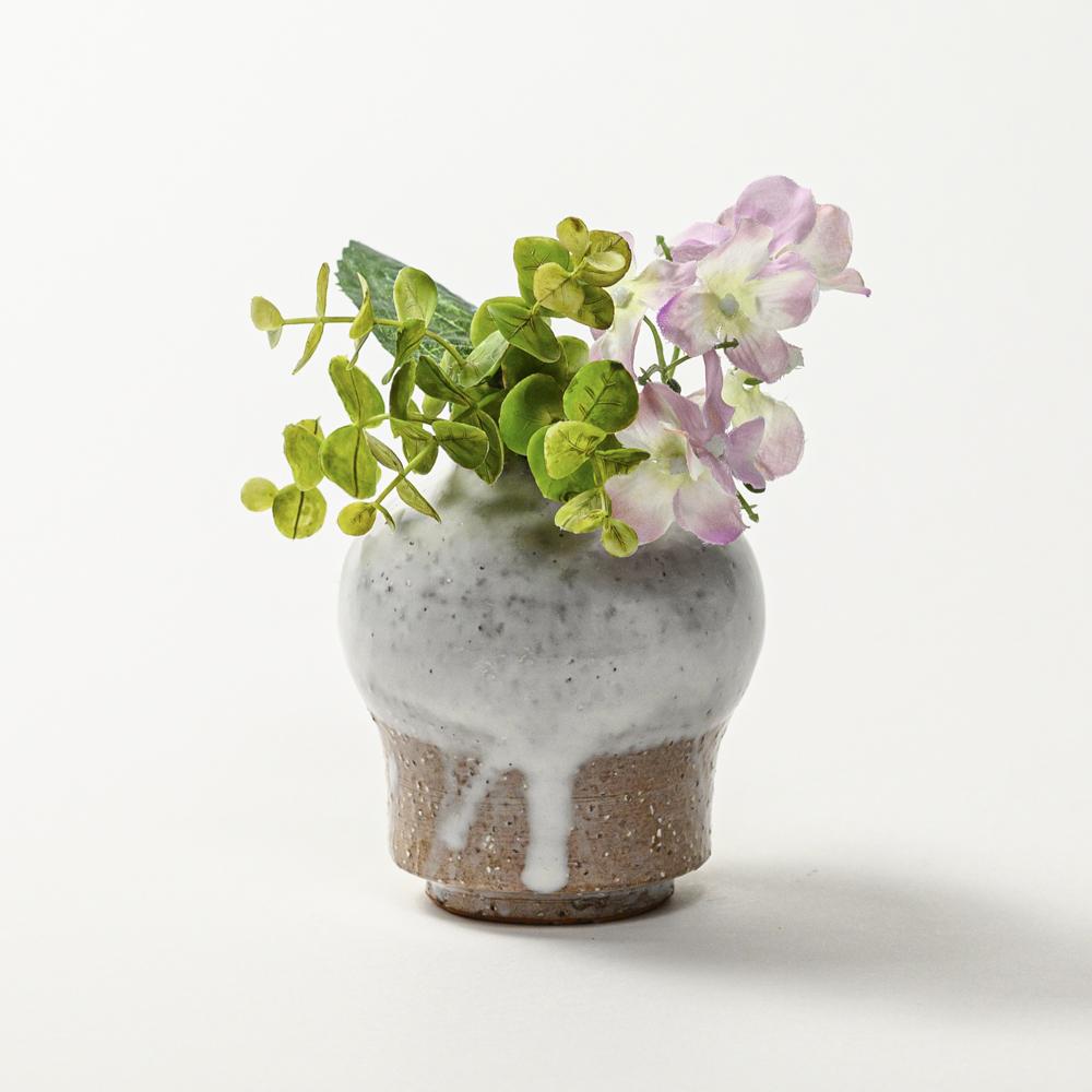萩焼(伝統的工芸品)ミニ花入白萩掛分け瓶子