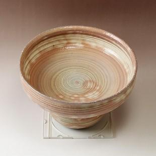 萩焼(伝統的工芸品)コンポート刷毛青荒丸高付