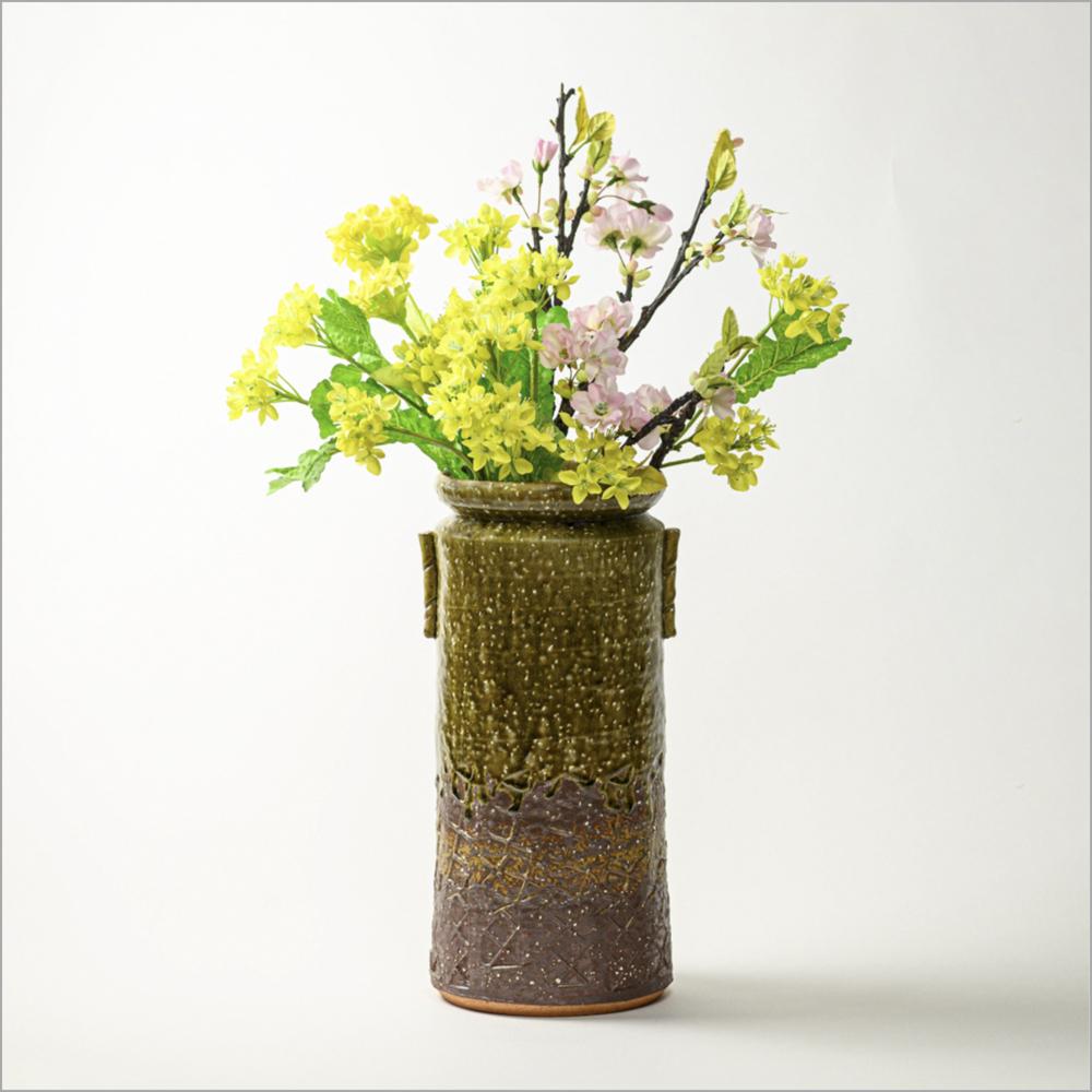 萩焼(伝統的工芸品)花器緑釉荒筒肩衝耳付叩き文