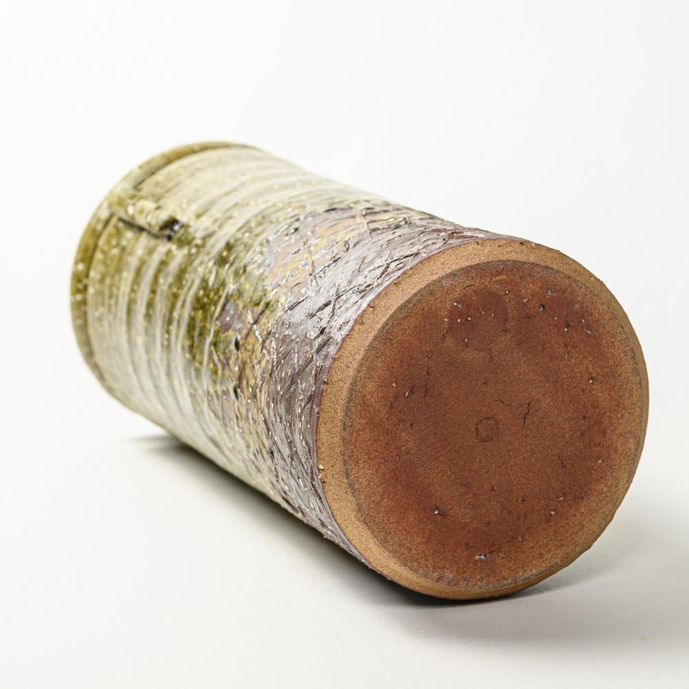 萩焼(伝統的工芸品)花器大緑釉荒筒肩衝耳付叩き文