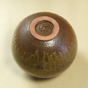 萩焼(伝統的工芸品)壷小鉄釉結晶丸