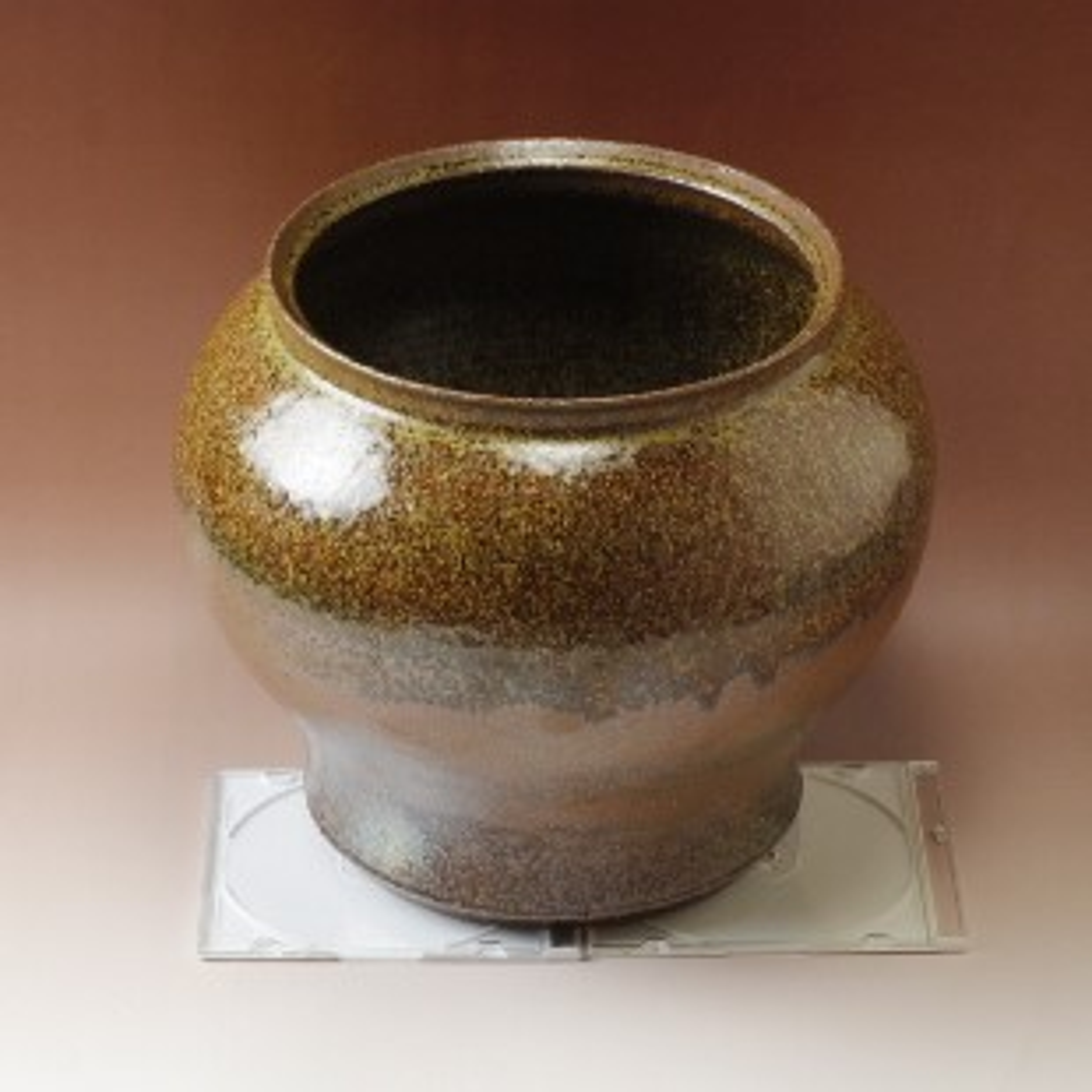 萩焼(伝統的工芸品)壷中鉄釉結晶瓶子広口