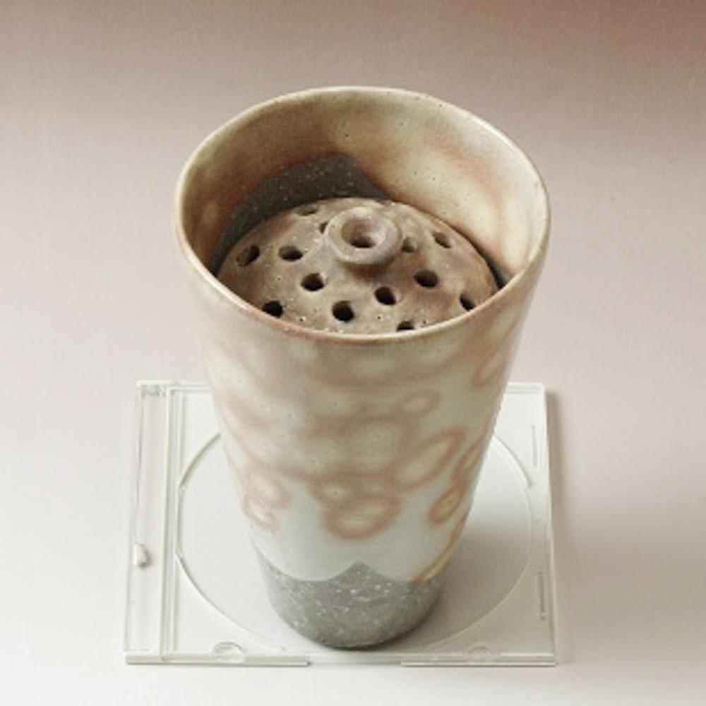 萩焼(伝統的工芸品)壷特大鬼白竹掛外し丸