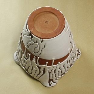 萩焼(伝統的工芸品)大壷鬼白竹掛外し八稜