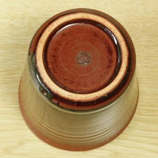萩焼(伝統的工芸品)フラキャンポット小鉄赤釉筒穴無し