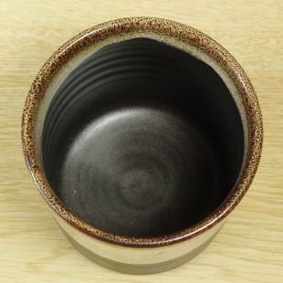 萩焼(伝統的工芸品)フラキャンポット小掛分け(黒釉&わら)筒穴無し