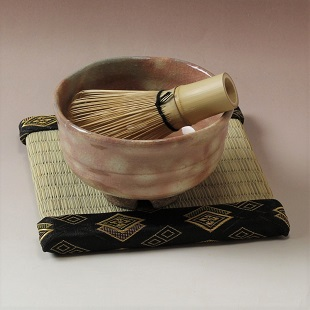 萩焼(伝統的工芸品)茶楽抹茶碗御本手半筒3点セット付