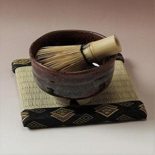 萩焼(伝統的工芸品)茶楽抹茶碗鉄赤釉荒半筒3点セット付