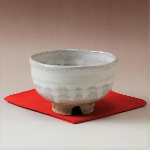 萩焼(伝統的工芸品)茶楽抹茶碗白萩掛分け半筒3点セット付