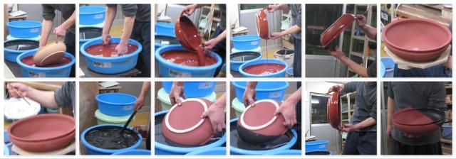 「萩焼が出来るまで」釉薬掛け(鉄釉&黒釉)-水盤