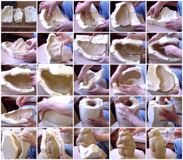 「萩焼が出来るまで」押し型作り-置物成形